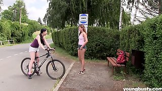 Lesbian Couple Daphne And Lexi Rain Lick Each Other Outdoors