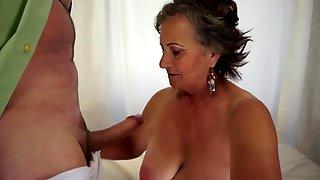 See Her Milk Large Ramrod And Make Him Cum Over Her Darksome Bush