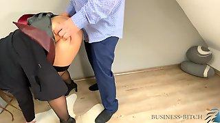 Boss Screwing Secretary In A Hawt Red Leather Petticoat - Lunch Break Quickie