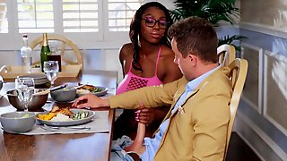 Ebony With Huge Tits Decides To Shove Some White Meat In Her