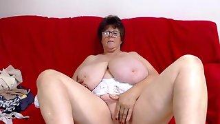 Grandma With Macromastia Boobs On Live Web Camera Chat