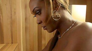 Busty Ebony Shemale Fucks Man In Sauna : Part 2