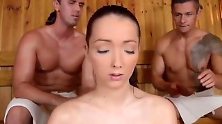 Massive Boobs Porn Shy Girl With Unreal Big BOOBS And Two Men In Sauna, Nipples Licking