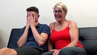 Hj Porn Horny Cougar MILF Seduces And Fucks Young Stud With Huge Cock, Sexy Glasses