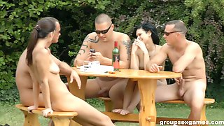 Outdoor Party Becomes A Prety Wild And Raunchy Orgy
