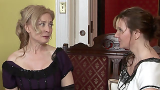 Adorable MILFs Nica Noelle And Nina Hartley In Vintage Costumes Start Pleasing Each Other
