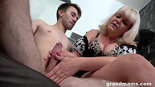 Horny Granny Gives A Blowjob And Rides His Large Dick In Cowgirl
