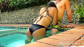 Risky Outdoor Sex At The Pool - Amateur Pair