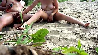 My 18yo Angel Makes A Stranger Cum On A Exposed Beach