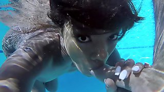 Interracial Underwater Blowjob Ends With Sex By The Pool - Anna Fox