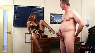 Lingerie Voyeur Encourages Her Submissive Boyfriend To Jerk Off