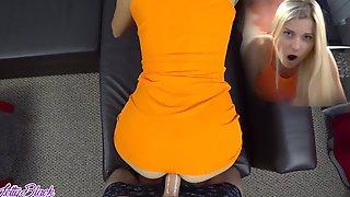 Pure POV Fucking In Tight Orange Dress - Letty Black Moves Her Booty