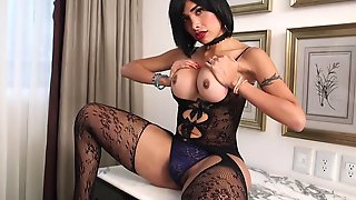 Curvy Latin Tgirl In Lingerie Wanking