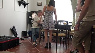 Upskirt, Pantyhose, Brunette, Heels, Party