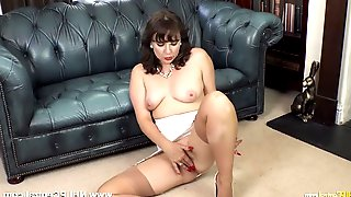 Brunette Sexy Wet Milf In Open Vintage Girdle Sheer Nylons Legs Open For Fun Hole Play