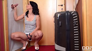 Czech Hottie Denise Rubs Her Tight Pussy While Giving A Glory Hole Blowjob