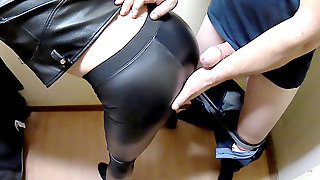 Ripped Leather Leggings Bi-atch Romped Standing