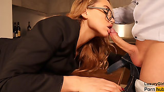 Beautiful Secretary Plowed On The Table. Blowjob And Sex In Stockings & Glasses.