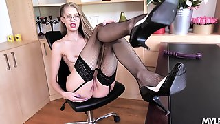 Skinny Beauty Shows Off In Her Black Stockings For A Nice Office Play
