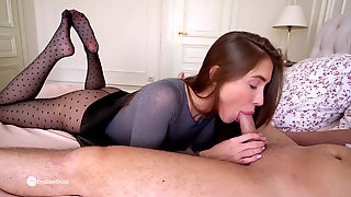 Crazy STEPSISTER Riding On A Shaft And Give FOOTJOB AFTER School - EmiliaBunny