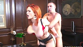 Increibly Busty Redhead Is Fucked By A Guy In His Office