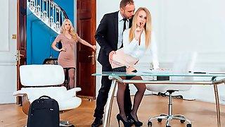 Secretaries Misha Cross And Carmel Andersson In Anal Threeway