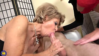 Two Hot Matures Sharing Young Cock