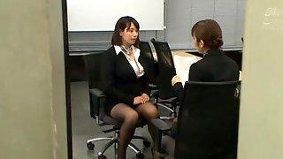 Japanese Secretary Haruna Hana Drops On Her Knees To Give Head