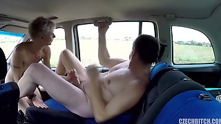 Czech Blond Is Getting Screwed In The Back Of A Car, In The Centre Of The Day