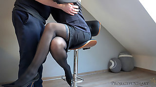 Facility Manager Uses His Sexy Woman Boss - Ends With A Raw Internal Cumshot Pussy In Hold-ups Stockings