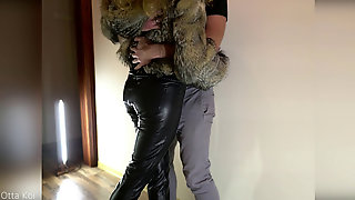 Hot Passionate Standing Pulverize In Clothes, Wool Cover, Leather Legging, Leather High Heels - Otta Koi