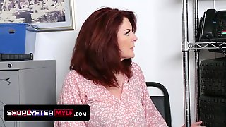 Curvy Redhead Andi James Gets Her Aged Vagina Slammed By The Security Officer