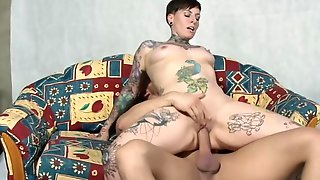 Tattooed Short Haired Mother I´d Like To Fornicate Takes A Big Male Pole