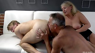Dirty Bisexual Threesome Between A Dirty Older Couple And A Younger Man
