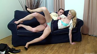 Blonde Beauty Fucks Clothed On The Couch