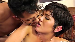 Cute Tgirl Teen Gets Shy Seducing Lucky Guy