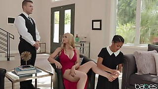 Passionate MILF Delights With Her Servants For Naughty Threesome