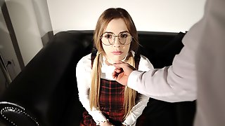 Blonde Takes Her Panties Of In Front Of The School Psychologist
