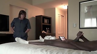 Corpulent Maid Is Fascinating A Ebony Chap In A Hotel Room And Listening To His Groans