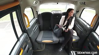 Seductive Brunette Hair Is Having Casual Sex With A Taxi Driver, In The Back Of His Car
