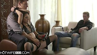 Hotwife Kimmy Granger Is Bound And Tied In Front Of Spouse