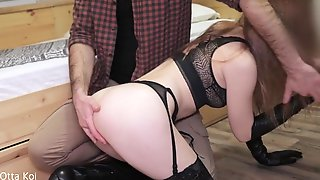 Otta Koi Was Screwed By 2 JOCKS. Hard Bang In LEATHER GLOVES, High Knee Boots And Ebony Underware