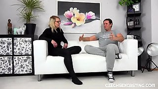 Czech Golden-haired Is Widening Her Legs Wide Open During A Porn Movie Scene Casting And Getting Screwed Hard