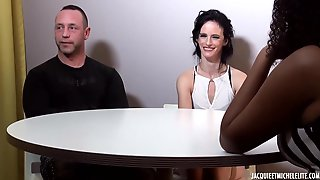 French Brunette Hair With Tiny Titties Is Having Group Sex And Cant Expect To Screw A Ebony Stud