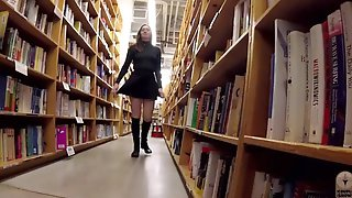 Cute Brunette Hair Exhibitionist Flashing At The Bookstore