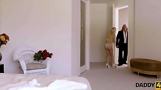 DADDY4K. Petite Blond Rides Jock Of Grooms Impressive Daddy In Advance Of Wedding