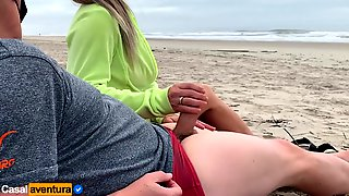 Quickie On Public Beach, People Walking Near - Real Amateur