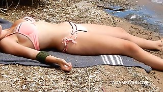 Consummate Body Teen Tanning On The Beach Woken Up By Rock Hard Wand - O-Surprise POV In Public [HD]