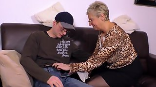 Blonde Granny In Animal Printed Blouse, Angelika Is About To Get Banged Hard On The Sofa