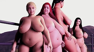 Hot Tub Fattening Machine - 5 Girls Grow Huge Boobs And Chubby Belly